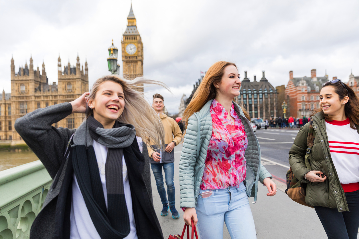 Young women traveling in London on a gap year.