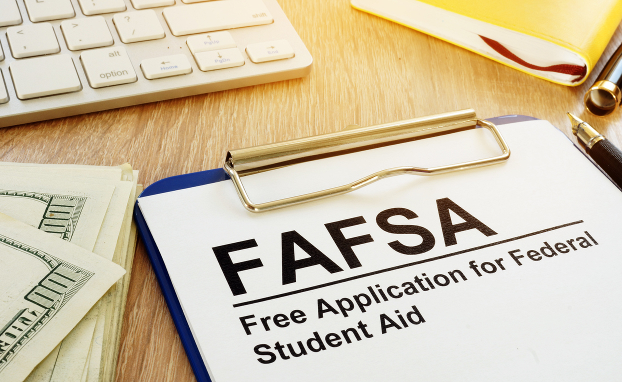 FAFSA form on clipboard and keyboard