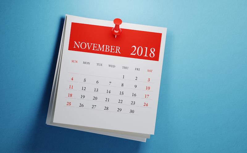 calendar showing November 2018