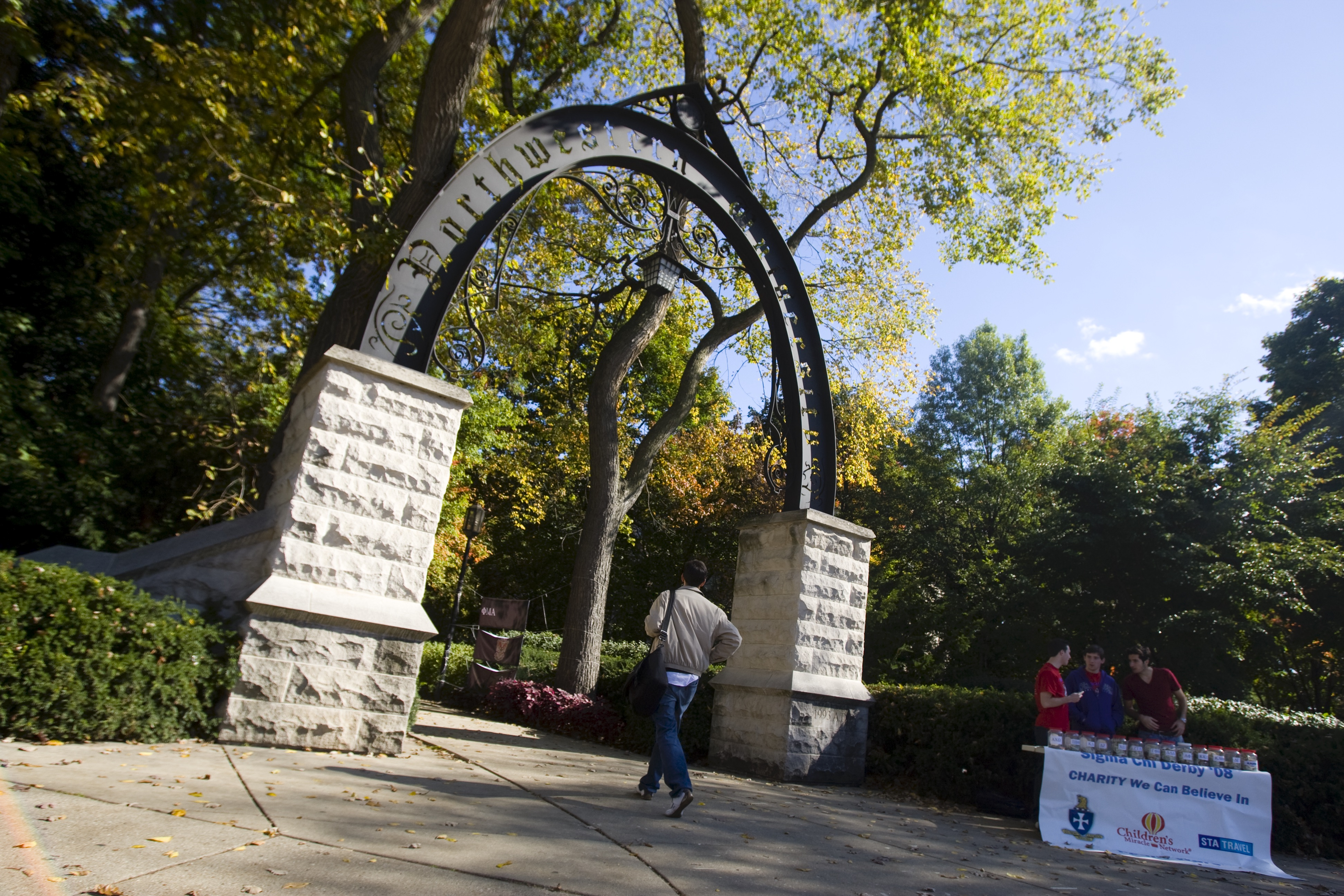 A stone gate at Northwestern University