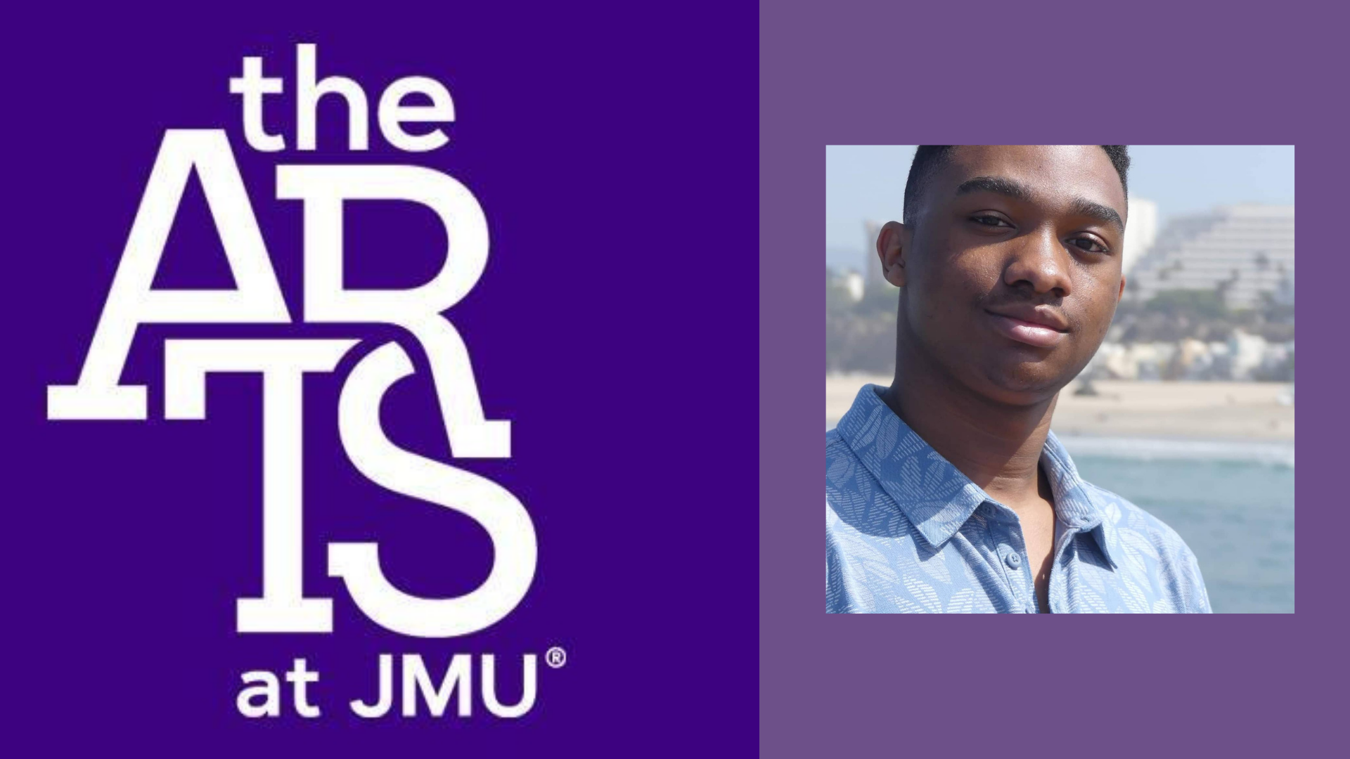 The logo of James Madison University is positioned next to the student who is speaking in the testimonial.