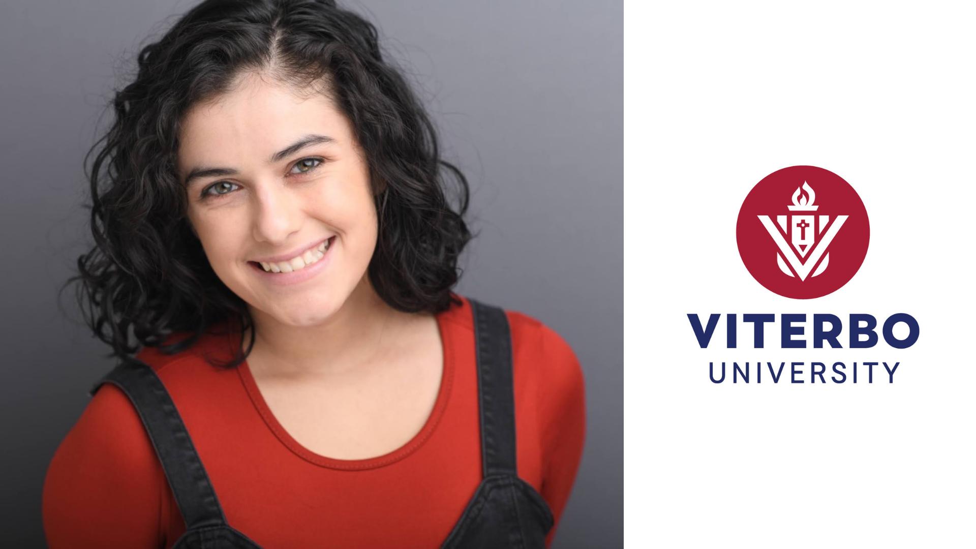 Viterbo Testimonial - student author next to logo