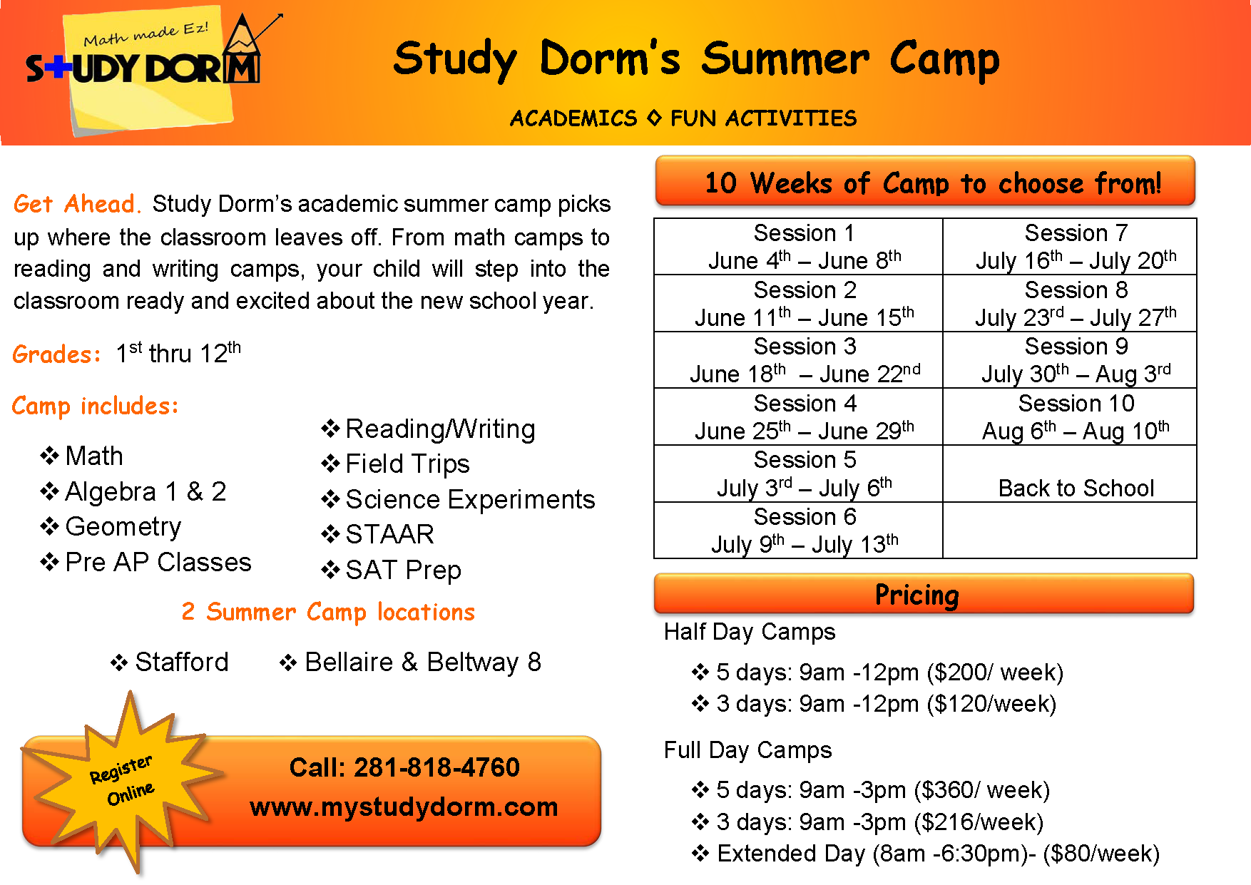 Academic Summer Camp for High School Students in Sugar Land