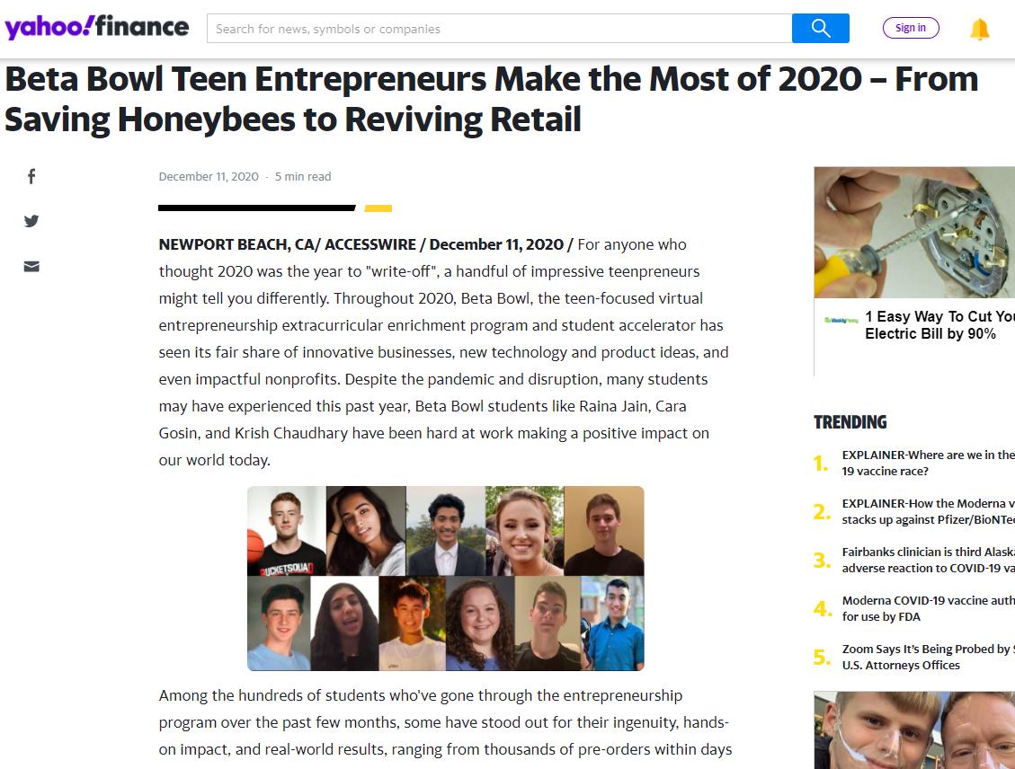 Summer Program - Business | Beta Bowl: Virtual Summer Entrepreneurship Enrichment Programs for Teens