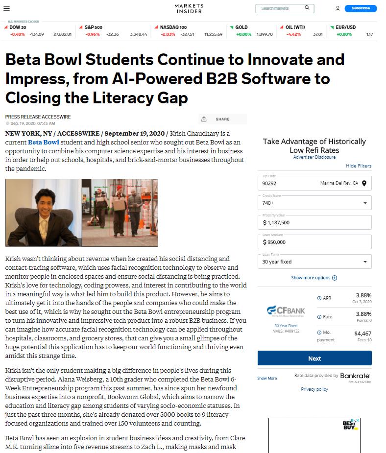 Summer Program - Entrepreneurship | Beta Bowl: Virtual Summer Entrepreneurship Enrichment Programs for Teens