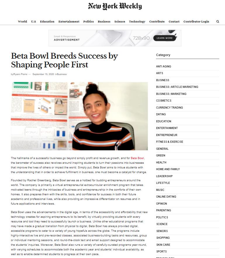 Summer Program - Enrichment | Beta Bowl: Virtual Summer Entrepreneurship Enrichment Programs for Teens