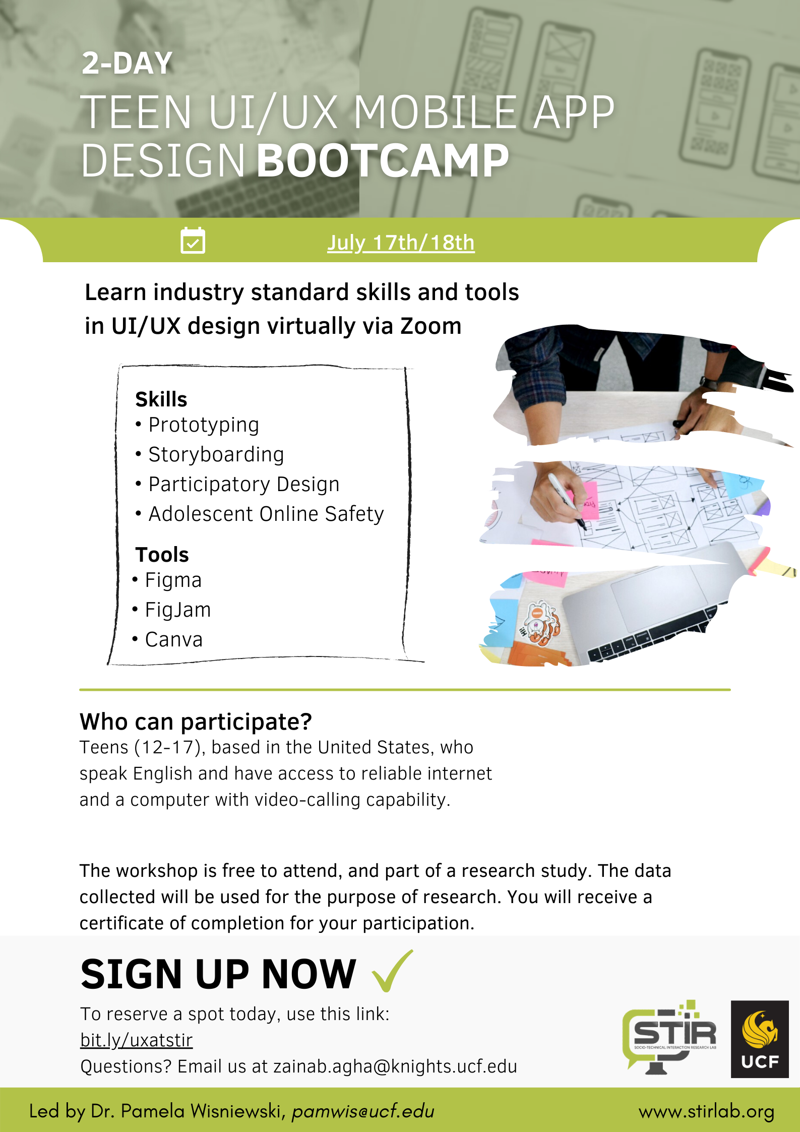 STIR Lab, University of Central Florida: Teen UI/UX Mobile App Design Bootcamp