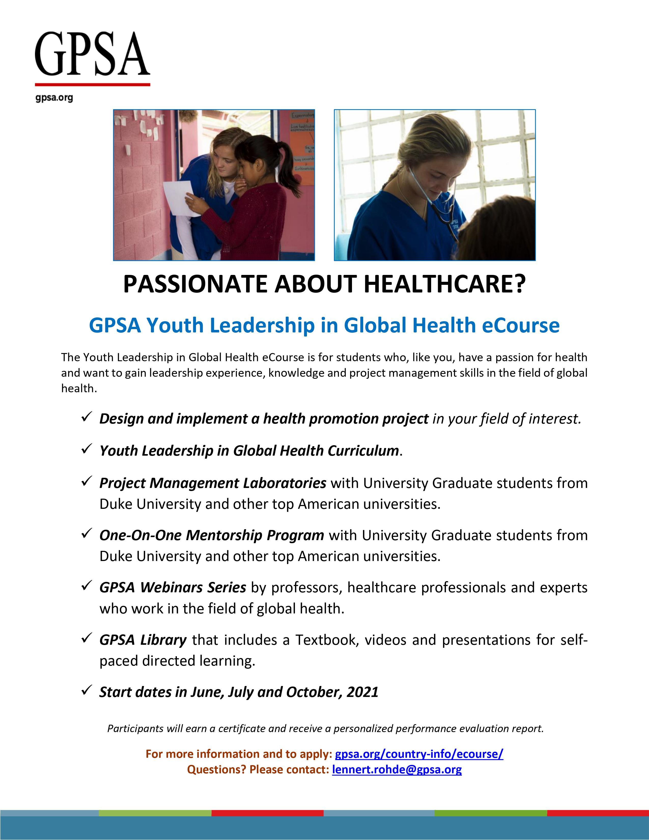 GPSA  Youth Leadership in Global Health eCourse